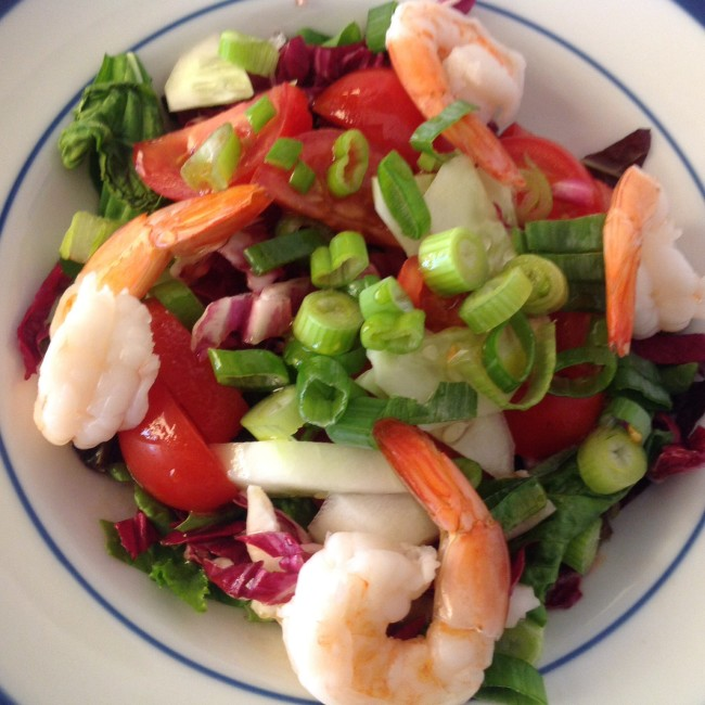 shrimp,tomato,arugula,radicchio, scallion | photo gourmet metrics