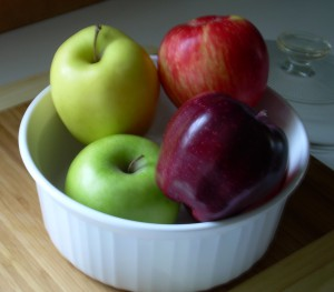 apples & baking dish for clafouti
